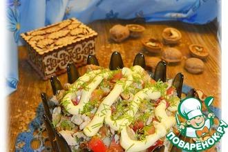 Рецепт: Салат с гречневыми оладьями и тархуном