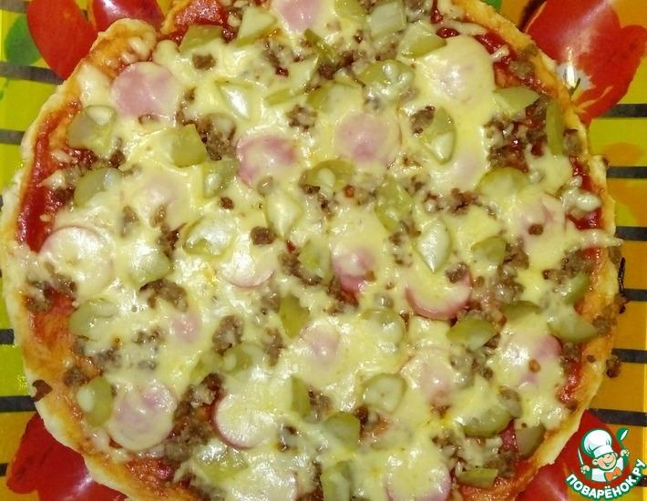 Рецепт: Пицца на сковороде