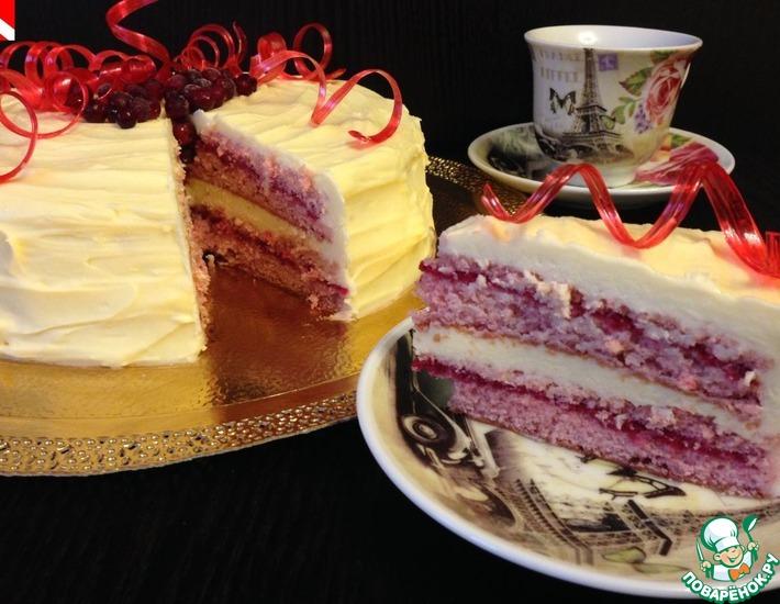 Рецепт: Клюквенный торт с белым шоколадом
