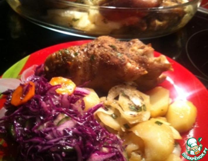 Рецепт: Свиные ножки на картофеле
