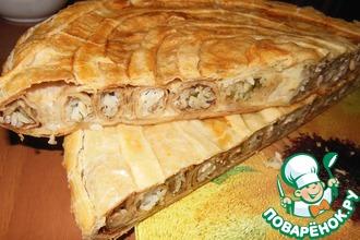Рецепт: Слоёный пирог с блинными улитками
