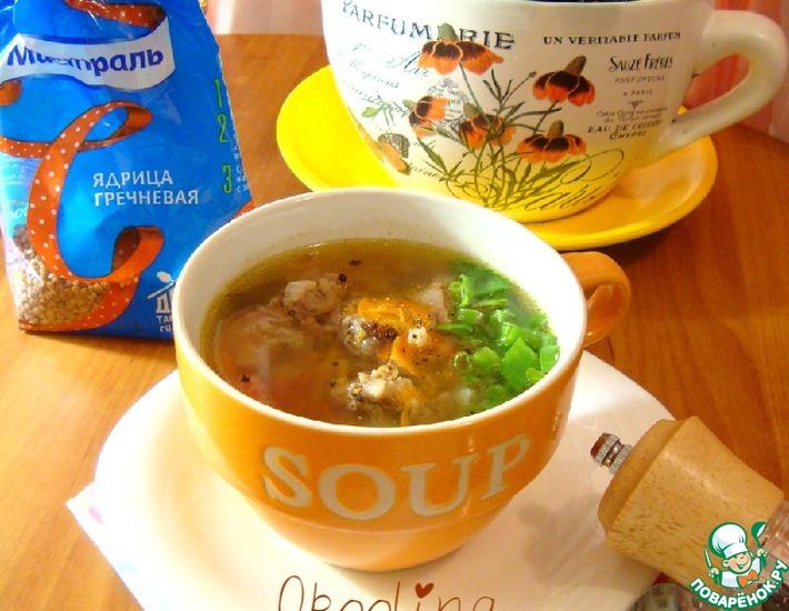 Рецепт: Суп с куриной печенью и гречневой крупой
