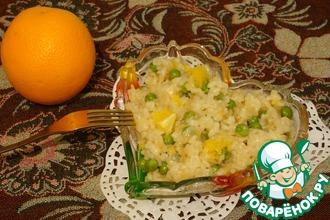 Рецепт: Ризотто с апельсином и зеленым горошком