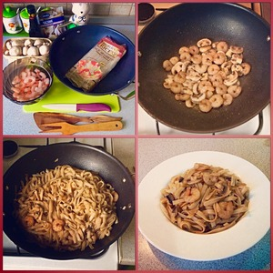 Рецепт Рисовая лапша с креветками под соевым соусом