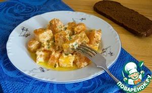Pumpkin in creamy garlic sauce