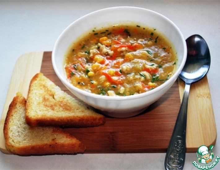 Рецепт: Кукурузный суп с курицей и морковью