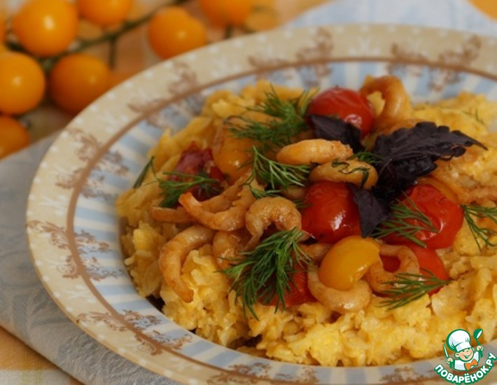 Рецепт: Тыквенно-рисовая каша с креветками