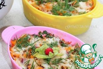 Рецепт: Кальмары, запеченные с картофелем под сырной корочкой