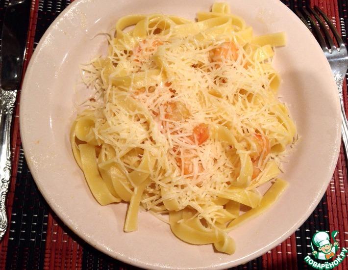 Рецепт: Паста Карбонара с креветками