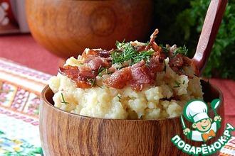 Рецепт: Каша картофельно-пшенная с беконом
