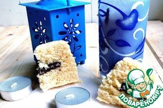 Рецепт: Ванильный кекс с шоколадом в СВЧ