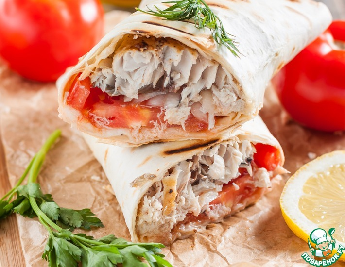 Рецепт: Начиненный лаваш по-турецки Рыба с хлебом