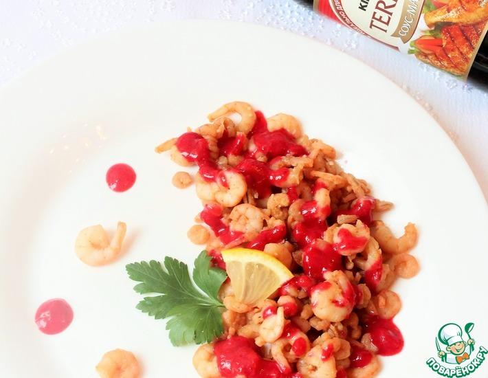 Рецепт: Креветки с брусничным соусом