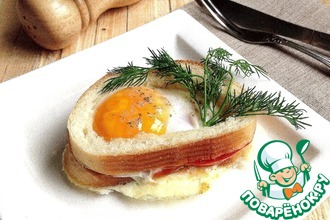 Рецепт: Бутерброд с яичницей в СВЧ