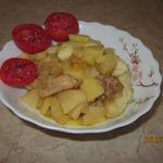 Нудли с картофелем и свининой