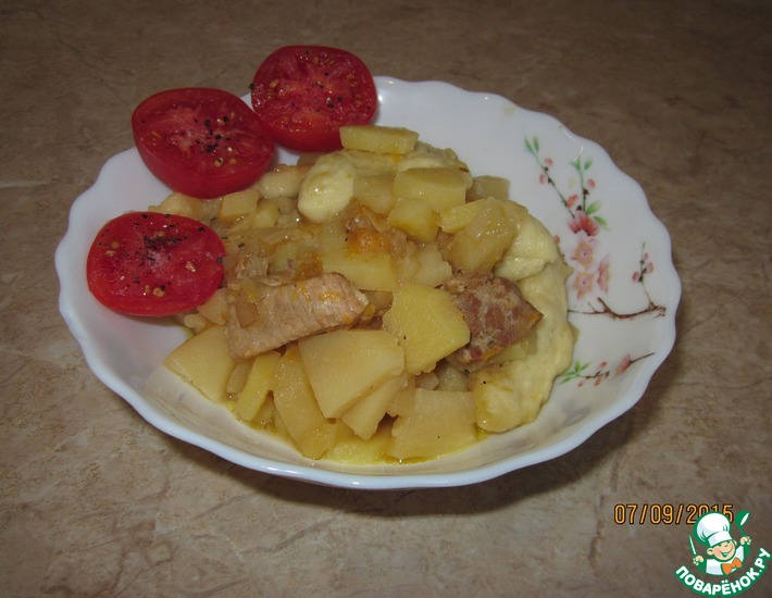 Рецепт: Нудли с картофелем и свининой