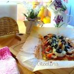 Пицца на кабачковой основе с морепродуктами