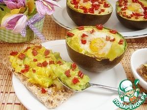 Рецепт Запеченные яйца в авокадо