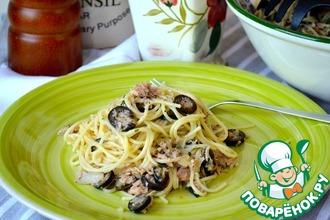 Рецепт: Спагетти с консервированным тунцом