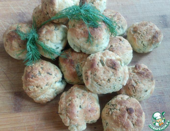 Рецепт: Сырное печенье с зеленью