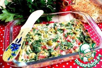 Рецепт: Омлет с помидорами и оливками в СВЧ