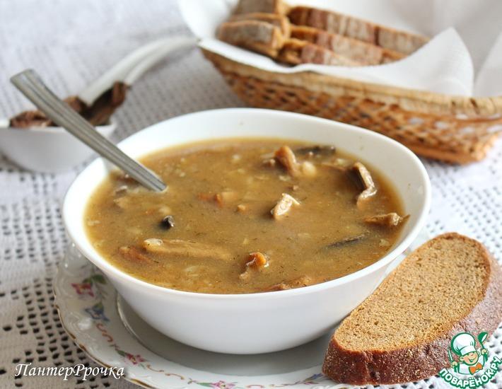 Рецепт: Быстрый грибной суп с фасолью