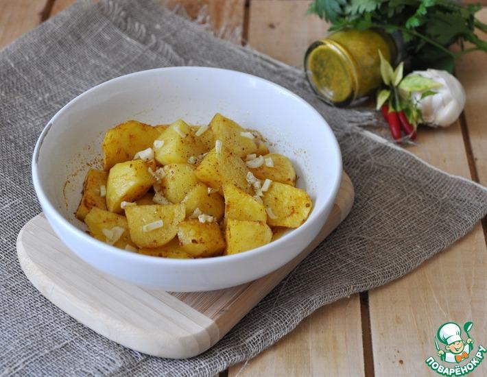Рецепт: Пряный золотистый картофель в микроволновке