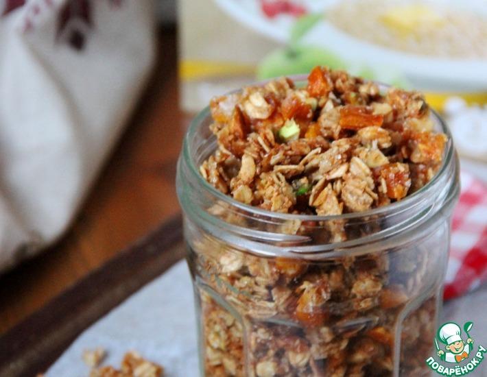 Рецепт: Гранола с персиком, фисташками и карамелью