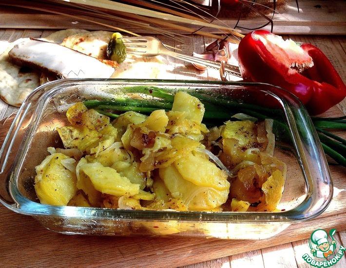 Рецепт: Картофель с копченым салом в СВЧ