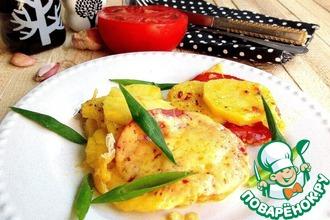 Рецепт: Картофель с помидором и сыром в СВЧ