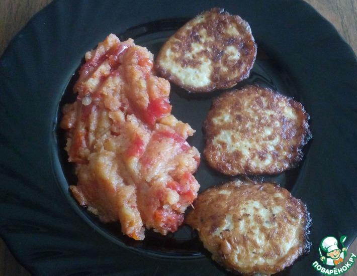 Рецепт: Луковые оладьи и овощной гарнир Лукошко