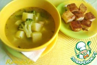 Рецепт: Суп-пюре с горошком, пореем и крутонами