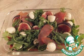 Рецепт: Салат с балыком, рукколой и инжиром Невский