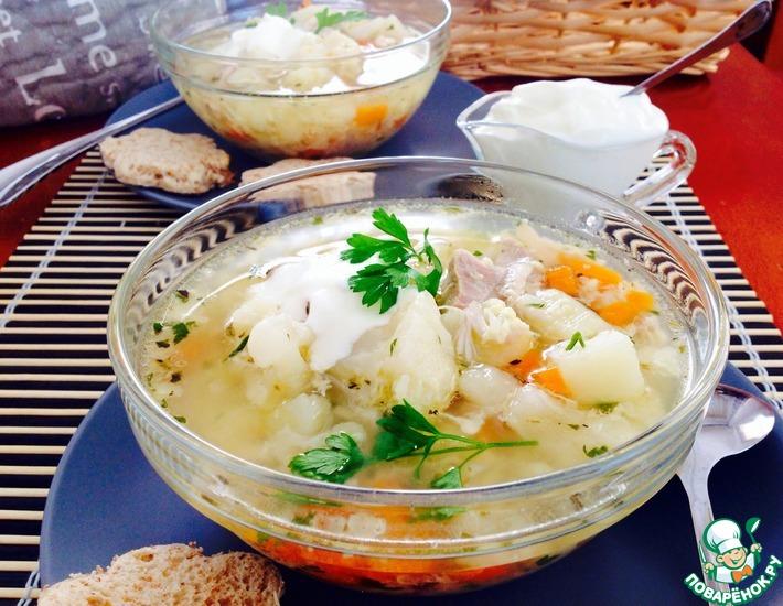 Рецепт: Суп куриный с цветной капустой
