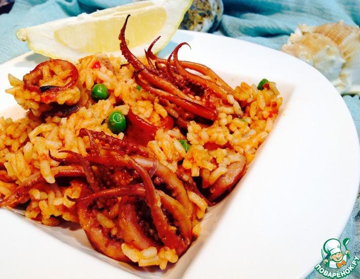 Рецепт: Рис с кальмаром Обыкновенное чудо