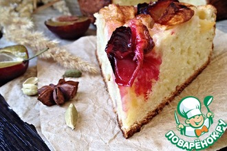 Рецепт: Творожный пирог с яблоками и сливами