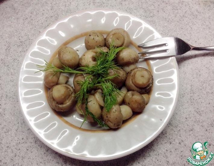 Рецепт: Быстрые грибы в микроволновке