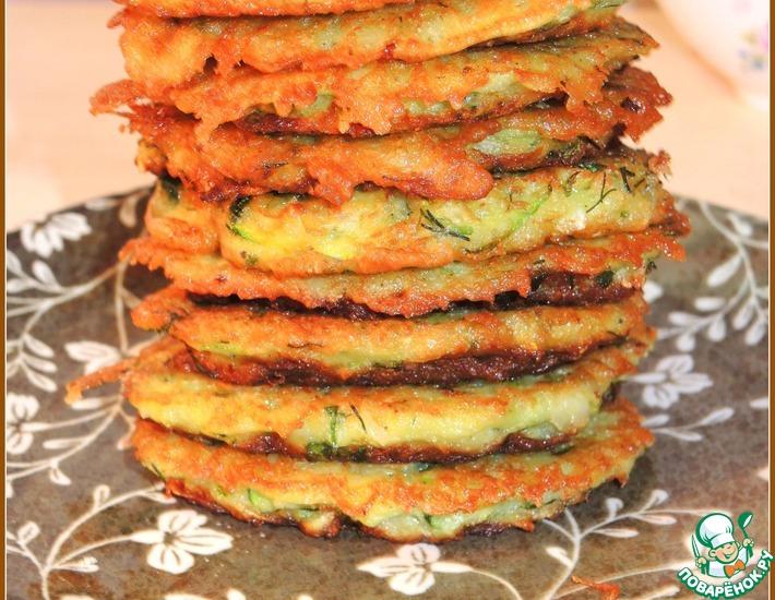Рецепт: Драники овощные с рисовыми хлопьями