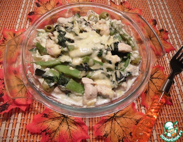 Рецепт: Курица с овощами в сливочном соусе