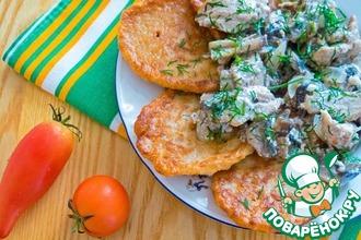 Рецепт: Дрожжевые гречневые оладьи к мясу с грибами