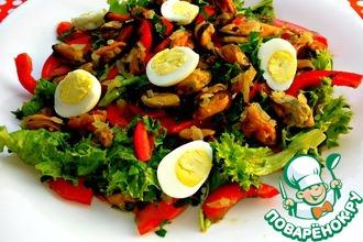 Рецепт: Средиземноморский салат с мидиями
