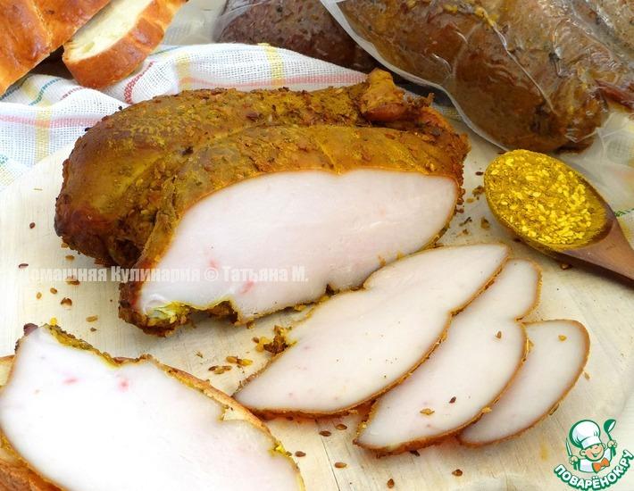 Рецепт: Куриные грудки с карри и кунжутом копченые