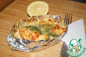 Рецепт Горбуша запеченная в кефире с овощами