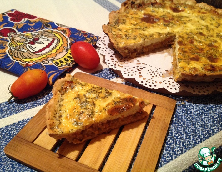 Рецепт: Пирог со скумбрией и творогом