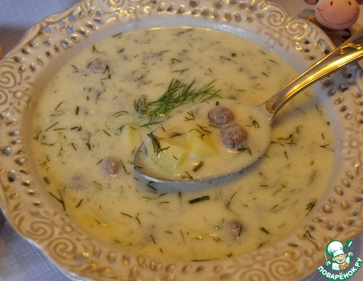 Рецепт: Румынский укропный суп с фрикадельками