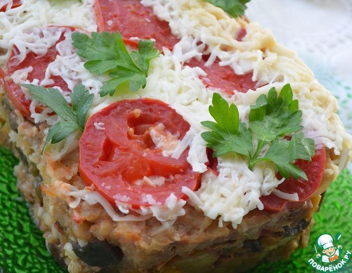 Рецепт: Мясная запеканка с рисовыми хлопьями и овощами