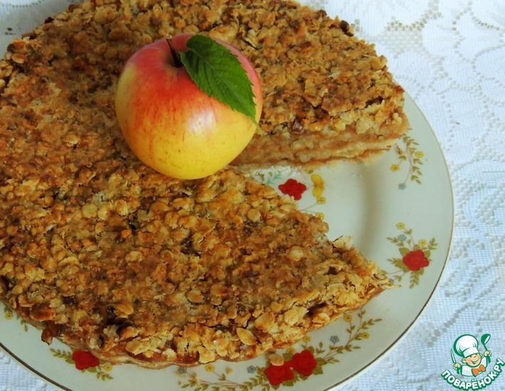 Рецепт: Пирог яблочный Домашний с овсяными хлопьями