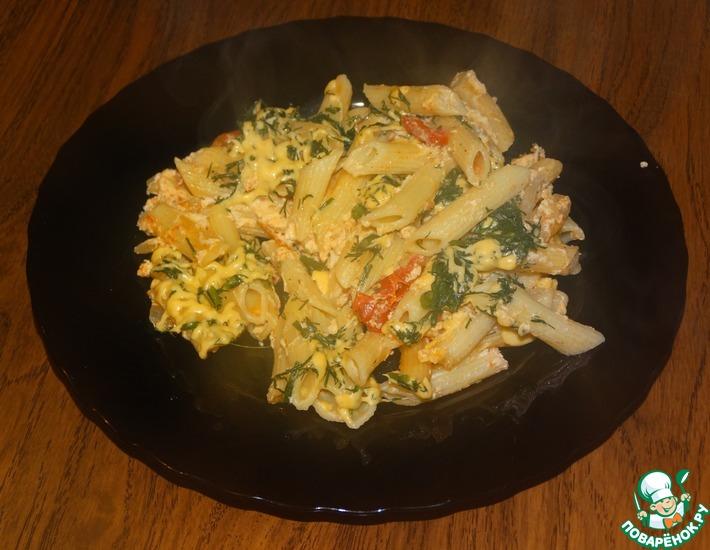 Рецепт: Запеканка с макаронами на сковороде