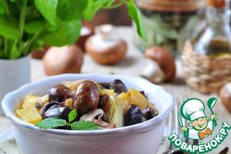 Рецепт: Жареные утиные желудки с луком-пореем и грибами