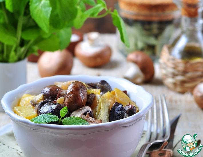 Рецепт: Жареные утиные желудки с грибами